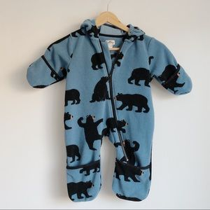 Hatley Blue Fleece Bear Bundler | 6-12 months